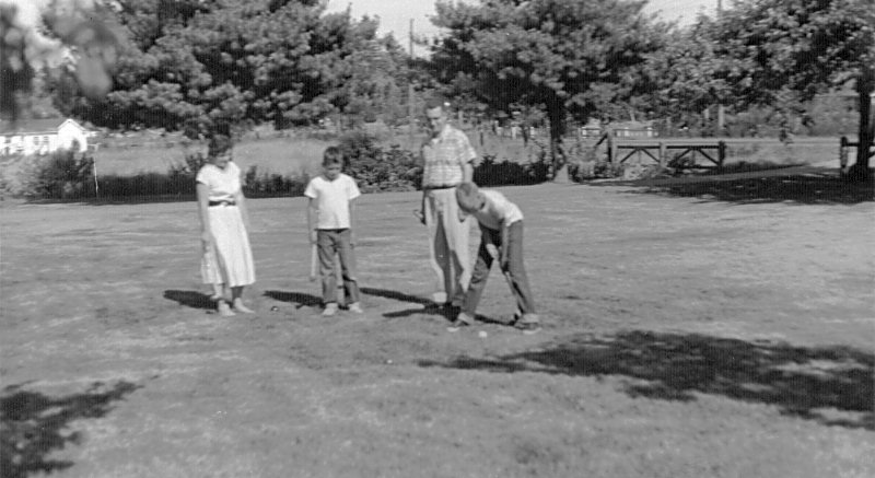 Croquet on the front lawn
